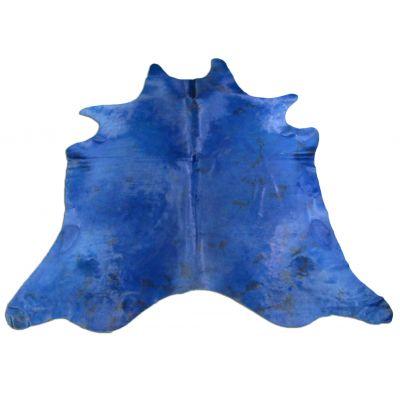 Blue Cowhide Rug Size: 8' X 7' Dyed Blue Tie-Dye Cowhide Rug K-016