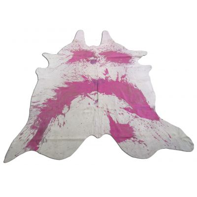 Distressed Pink Cowhide Rug Size: 7 1/2' X 7' Pink/White Acid Washed Cowhide Rug K-087