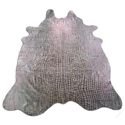 Crocodile Embossed Cowhide Rug Size: 7 3/4' X 5 1/2' White/Grey Embossed Cowhide Rug K-150