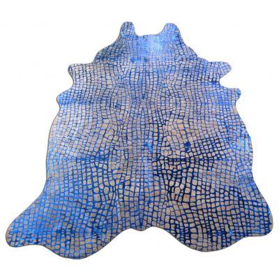 Crocodile Embossed Cowhide Rug Size: 7' X 5 1/2' Beige/Blue Embossed Cowhide Rug K-152