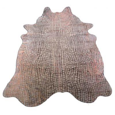 Crocodile Embossed Cowhide Rug Size: 7 1/2' X 5 3/4' Beige/Bronze Embossed Cowhide Rug K-153