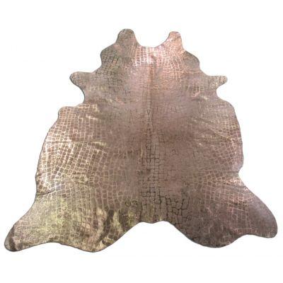 Crocodile Embossed Cowhide Rug Size: 7' X 5 3/4' Beige/Gold Embossed Cowhide Rug K-155