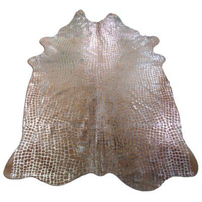 Crocodile Embossed Cowhide Rug Size: 8' X 5 3/4' Beige/Silver Embossed Cowhide Rug K-156