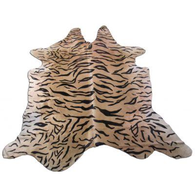 Tiger Print Cowhide Rug Size: 7 1/2' X 7' Beige/Black Siberian Tiger Cowhide Rug K-159