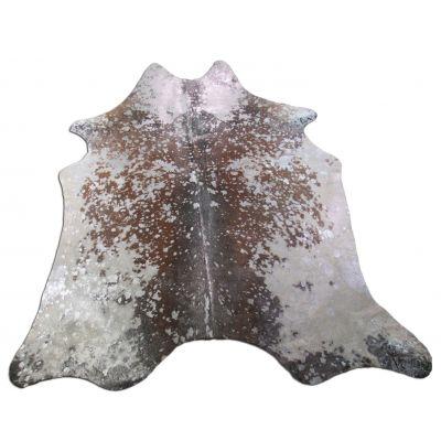 Silver Cowhide Rug Size: 6 1/4' X 6' Brown/Silver Acid Washed Cowhide Rug K-162