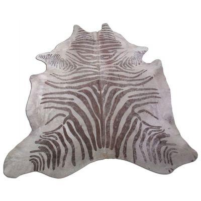 Acid Washed Zebra Print Cowhide Rug Size: 8' X6 3/47' Beige/Brown Zebra Acid Washed Cowhide Rug K-166