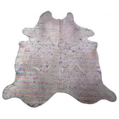 Rainbow Metallic Cowhide Rug Size: 8 1/4' X 7' Beige/Multicolor Acid Washed Cowhide Rug K-167