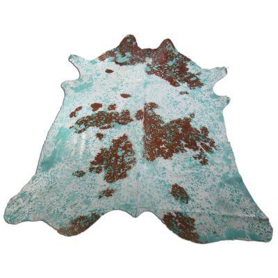 Aqua Blue Cowhide Rug Size: 8' X 7' Brown/Blue Acid Washed Cowhide Rug K-174