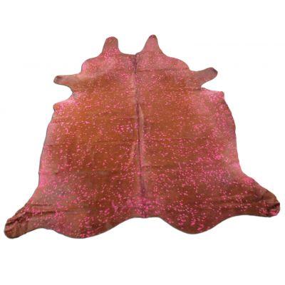 Pink Cowhide Rug Size: 8' X 7' Brown/Pink Acid Washed Cowhide Rug K-176