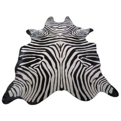 Zebra Print Cowhide Rug Size: 7 1/2' X 6 1/2' Black/White Upholstery Zebra Cowhide Rug K-178