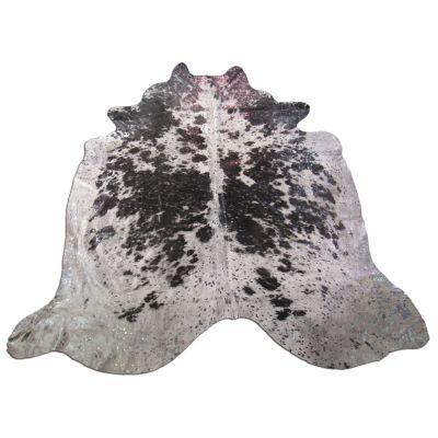 Pewter Cowhide Rug Size: 6 1/4' X 6' Black/Pewter Acid Washed Cowhide Rug K-181