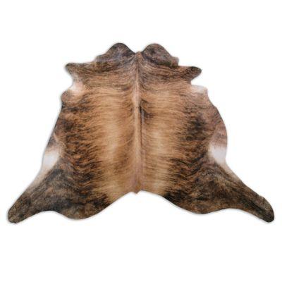 Medium Brindle Cowhide Rug Size: 7 3/4' X 7 1/4' Beige/Brown Brindle Cowhide Rug K-195