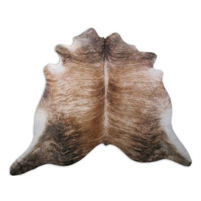Medium Brindle Cowhide Rug Size: 6 1/2' X 6' Beige/Brown Brindle Cowhide Rug K-196