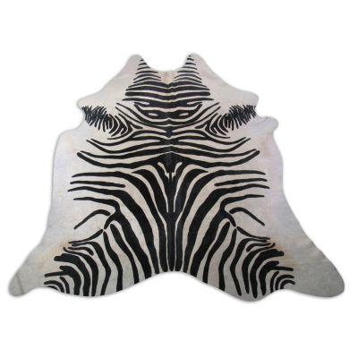 African Zebra Print Cowhide Rug Size: 7 1/4' X 7' Black/White Zebra Cowhide Rug K-209