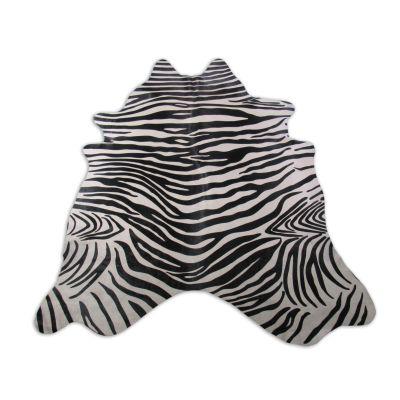 Zebra Print Cowhide Rug Size: 8' X 6 1/2' Black/White Upholstery Zebra Cowhide Rug K-210