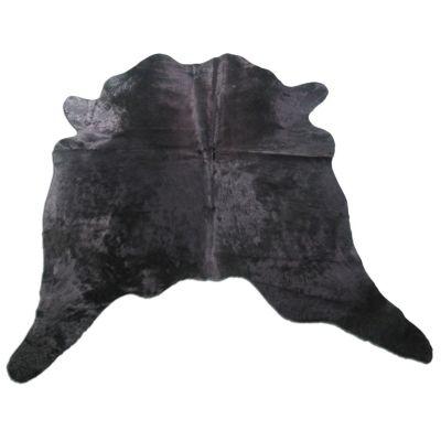 Black Cowhide Rug Size: 7' X 6' Dyed Black Cowhide Rug K-223