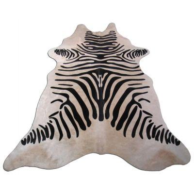 Zebra Print Cowhide Rug Size: 7' X 6' Black/Beige Zebra Cowhide Rug K-224