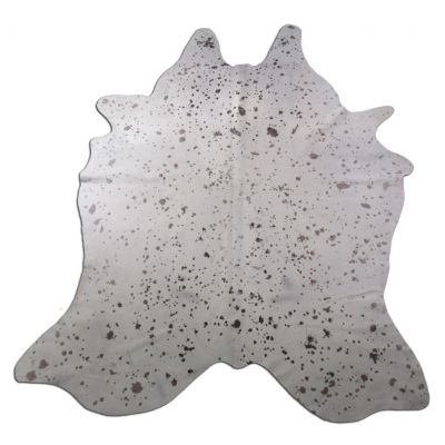 Distressed White Cowhide Rug Size: 8 1/4' X 6' White/Brown Cowhide Rug K-232