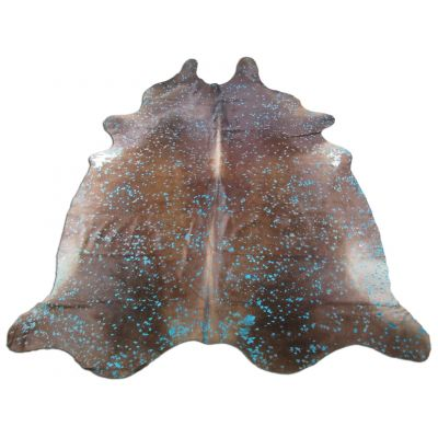 Turquoise Cowhide Rug Size: 8' X 7' Brown/Blue Acid Washed Cowhide Rug K-234