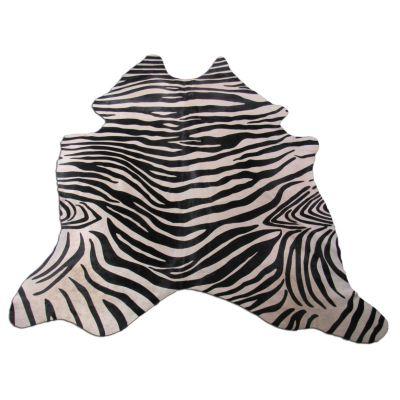 Zebra Print Cowhide Rug Size: 7' X 6' Black/Beige Upholstery Zebra Cowhide Rug K-244