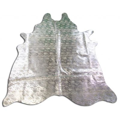 Silver Snake Print Cowhide Rug Size: 7 1/2' X 6' Beige/Silver Snake Print Cowhide Rug N-032