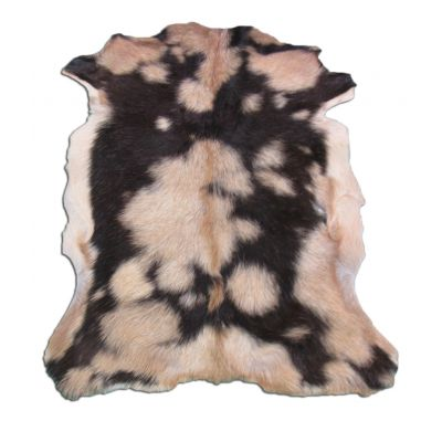 "Beige & Black Goat Skin Size: 35"" X 27"" Beige/Black Spotted Sheep Hide N-260"