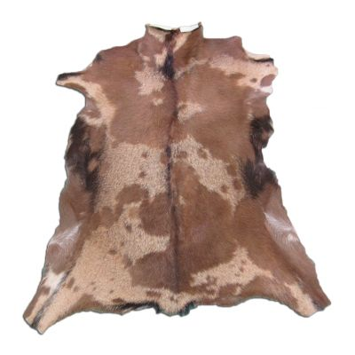"Beige & Brown Goat Skin Size: 34"" X  30"" Beige/Brown Spotted Sheep Hide N-261"