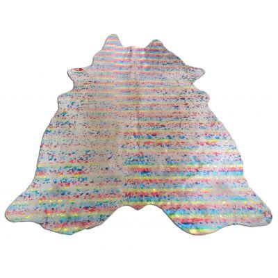 Rainbow Metallic Cowhide Rug Size: 6 3/4' X 6' Multicolor Acid Washed Cowhide Rug N-338