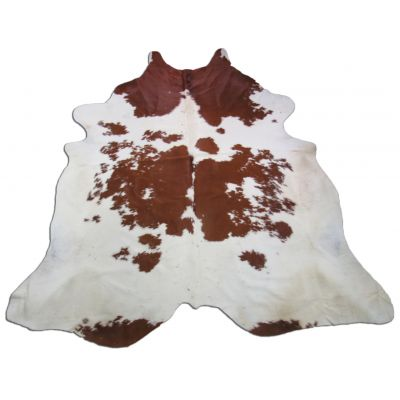 Brown & White Cowhide Rug Size: 8 1/4' X 7' Spotted Brown and White Cowhide Rug O-585