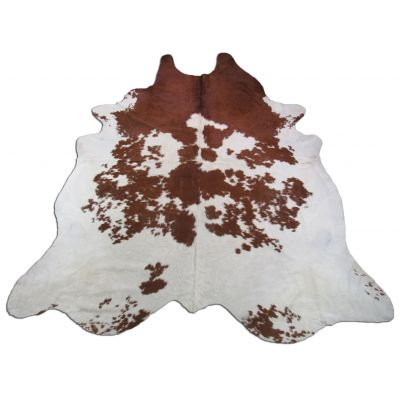 Brown & White Cowhide Rug Size: 8 1/4' X 7' Spotted Brown and White Cowhide Rug O-586