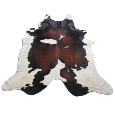 Brown & White Cowhide Rug Size: 7 1/2' X 7' Spotted Brown and White Cowhide Rug O-797