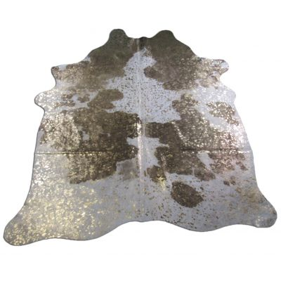 Gold Cowhide Rug Size: 6 3/4' X 6' Brown/Gold Acid Washed Cowhide Rug O-812