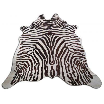 Zebra Print Cowhide Rug Size: 7 1/4' X 6 1/2' Brown/White Upholstery Zebra Cowhide Rug O-834