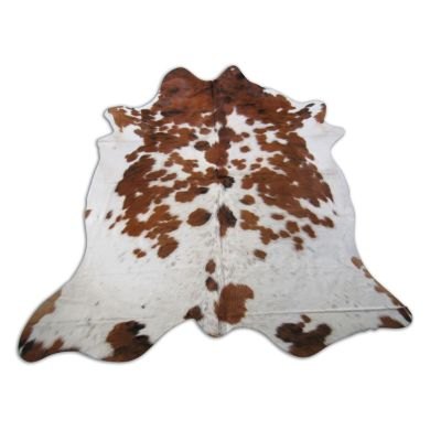 Brown & White Cowhide Rug Size: 7' X 6 1/4' Spotted Brown and White Cowhide Rug O-846