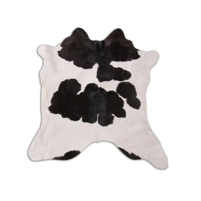 "Black and White Calfskin Size: 34"" X 30"" Black/White Spotted Calf Skin Mini Cowhide Rug O-869"