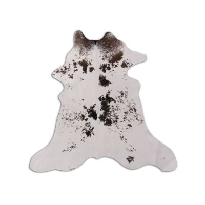 "Brown and White Calfskin Size: 34"" X 30"" Brown/White Speckled Calf Skin Mini Cowhide Rug O-870"