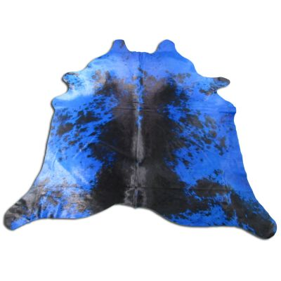 Blue Cowhide Rug Size: 8' X 7 1/2' Dyed Blue Salt & Pepper Cowhide Rug O-876