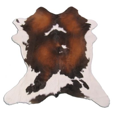 "Tricolor Calfskin Size: 38"" X 33"" Brown/White Spotted Calf Skin Mini Cowhide Rug O-915"