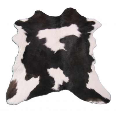"Black and White Calfskin Size: 38"" X 33"" Black/White Spotted Calf Skin Mini Cowhide Rug O-916"