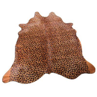 Leopard Print Cowhide Rug Size: 7 1/4' X 6 1/4' Beige/Brown Leopard Cowhide Rug O-917