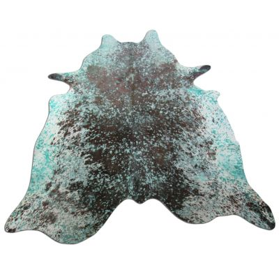 Turquoise Cowhide Rug Size: 7' X 6' Brown/Blue Acid Washed Cowhide Rug O-933