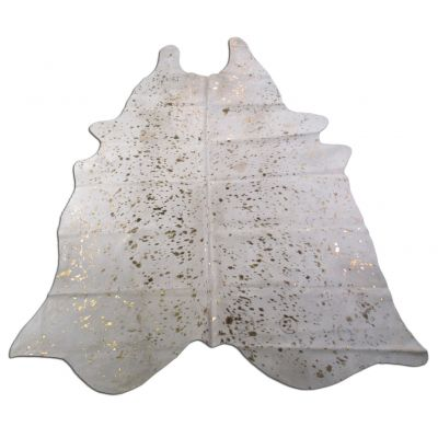 Gold Cowhide Rug Size: 8' X 6' White/Gold Acid Washed Cowhide Rug O-934