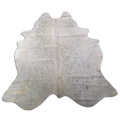Gold Cowhide Rug Size: 7 1/2' X 6' White/Gold Acid Washed Cowhide Rug O-935