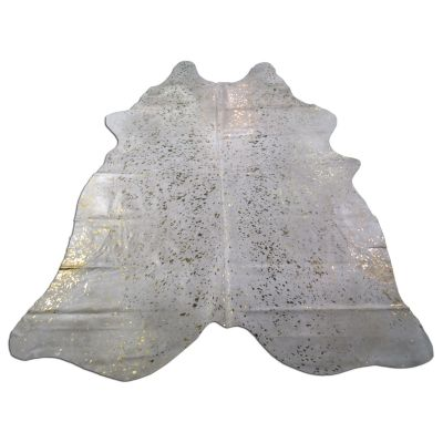 Gold Cowhide Rug Size: 8' X 7' White/Gold Acid Washed Cowhide Rug O-938