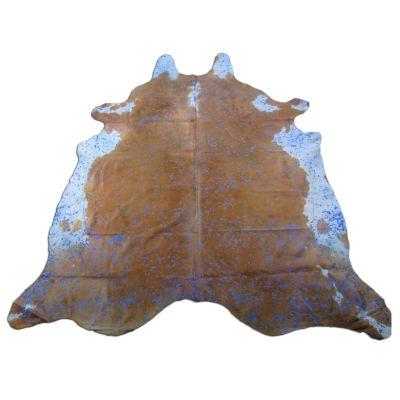 Blue Cowhide Rug Size: 8 1/4' X 7 1/2' Brown/Blue Acid Washed Cowhide Rug O-952