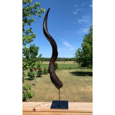 """Oiled Kudu Horn on Metal Stand African Antelope Outer Horn - Size: About 30"""" horn length (base is about 9"""")"""