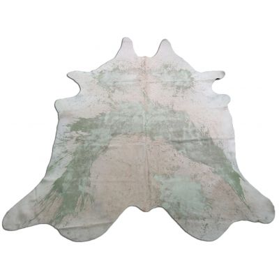 Distressed Mint Green Cowhide Rug Size: 8 1/4' X 7 1/4' Green/Beige Acid Washed Cowhide Rug P-011