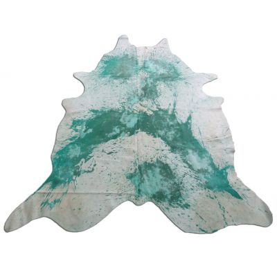 Distressed Aqua Cowhide Rug Size: 8' X 7' Aqua/White Acid Washed Cowhide Rug P-013