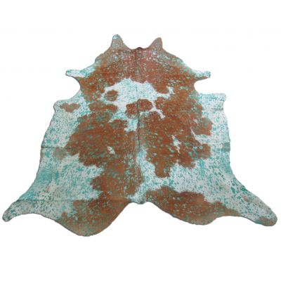 Aqua Blue Cowhide Rug Size: 7' X 6 1/2' Brown/Blue Acid Washed Cowhide Rug P-014