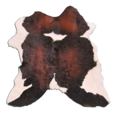 "Tricolor Calfskin Size: 34"" X 30"" Brown/White Spotted Calf Skin Mini Cowhide Rug P-023"